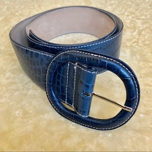 Ann Taylor Leather Embossed Wide Belt Navy Blue EC